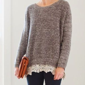 Anthropologie Pins and Needles lace hem sweater